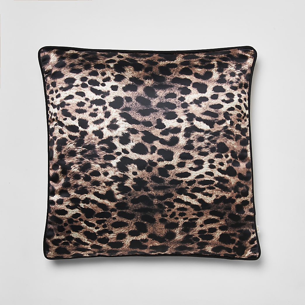Brown leopard print cushion