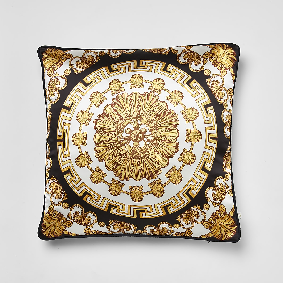 Gold medallion printed cushion cover