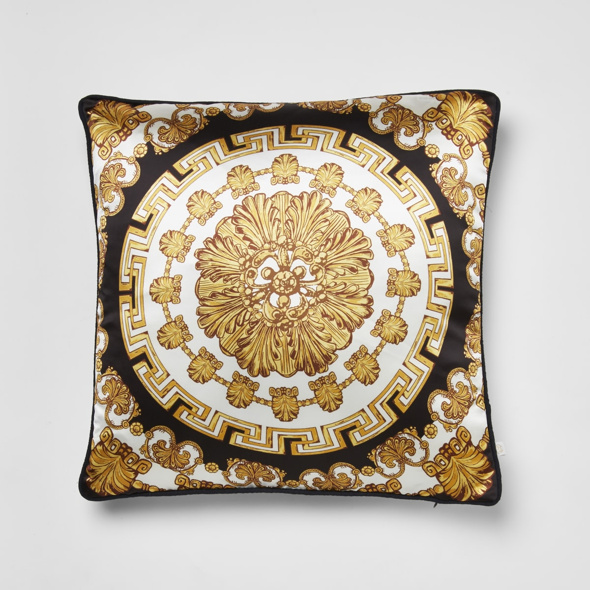 Gold medallion printed cushion cover
