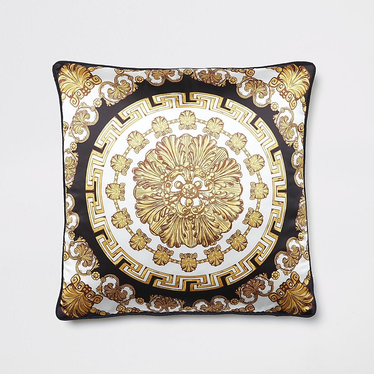 Gold medallion printed cushion