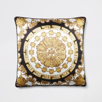 Gold medallion printed cushion