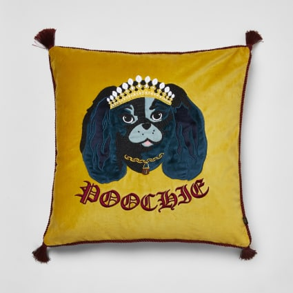 Yellow 'Poochie' dog embroidered cushion