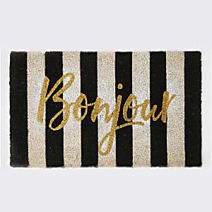 Bombay Duck black stripe 'Bonjour' door mat
