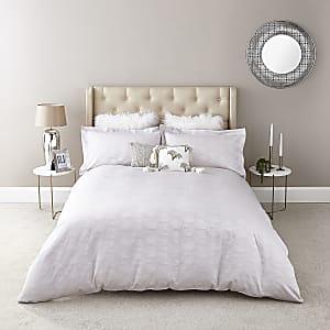 Silbernes King Size Bettdeckenset mit geometrischem Muster