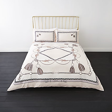 Cream belt print king double duvet bed set