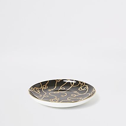 Black rope print trinket tray