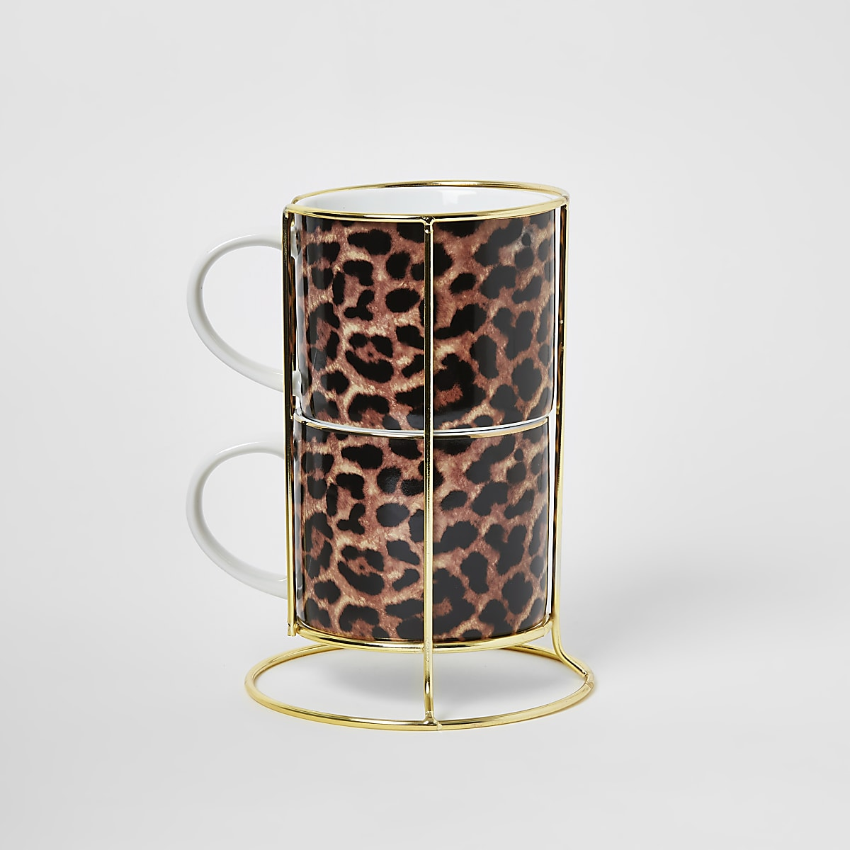 Brown leopard print 2 stacking mugs