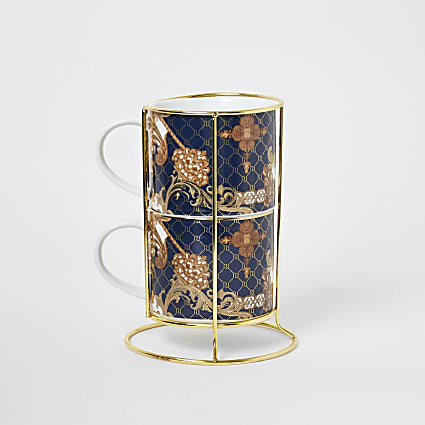Blue ornate rope print 2 stacking mugs