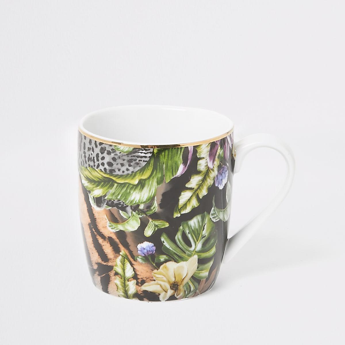 Pink tiger floral printed china mug