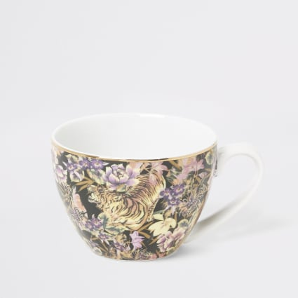 Pink tiger floral printed bowl mug