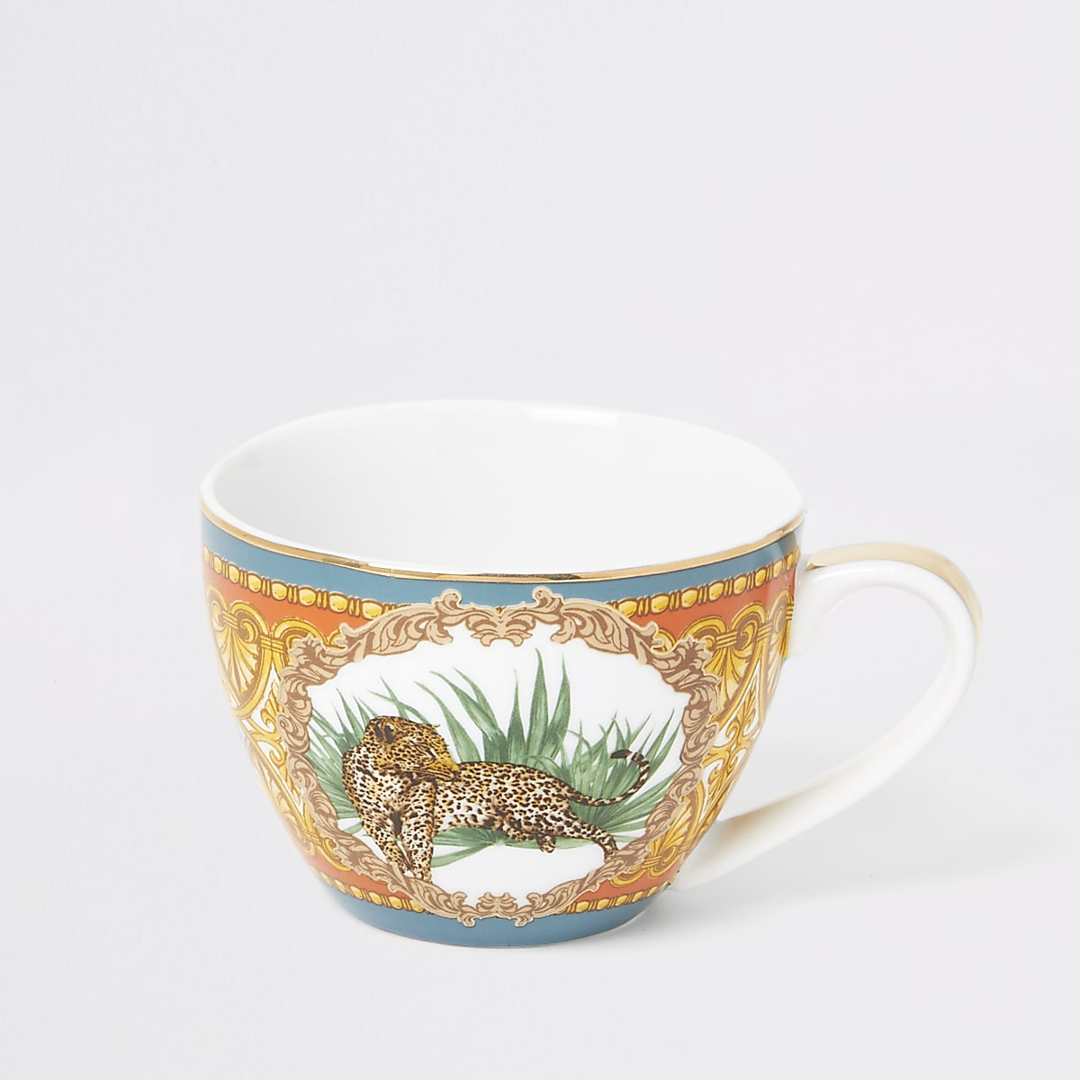 Orange leopard printed bowl mug