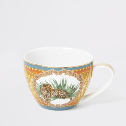 Orange leopard printed bowl mug