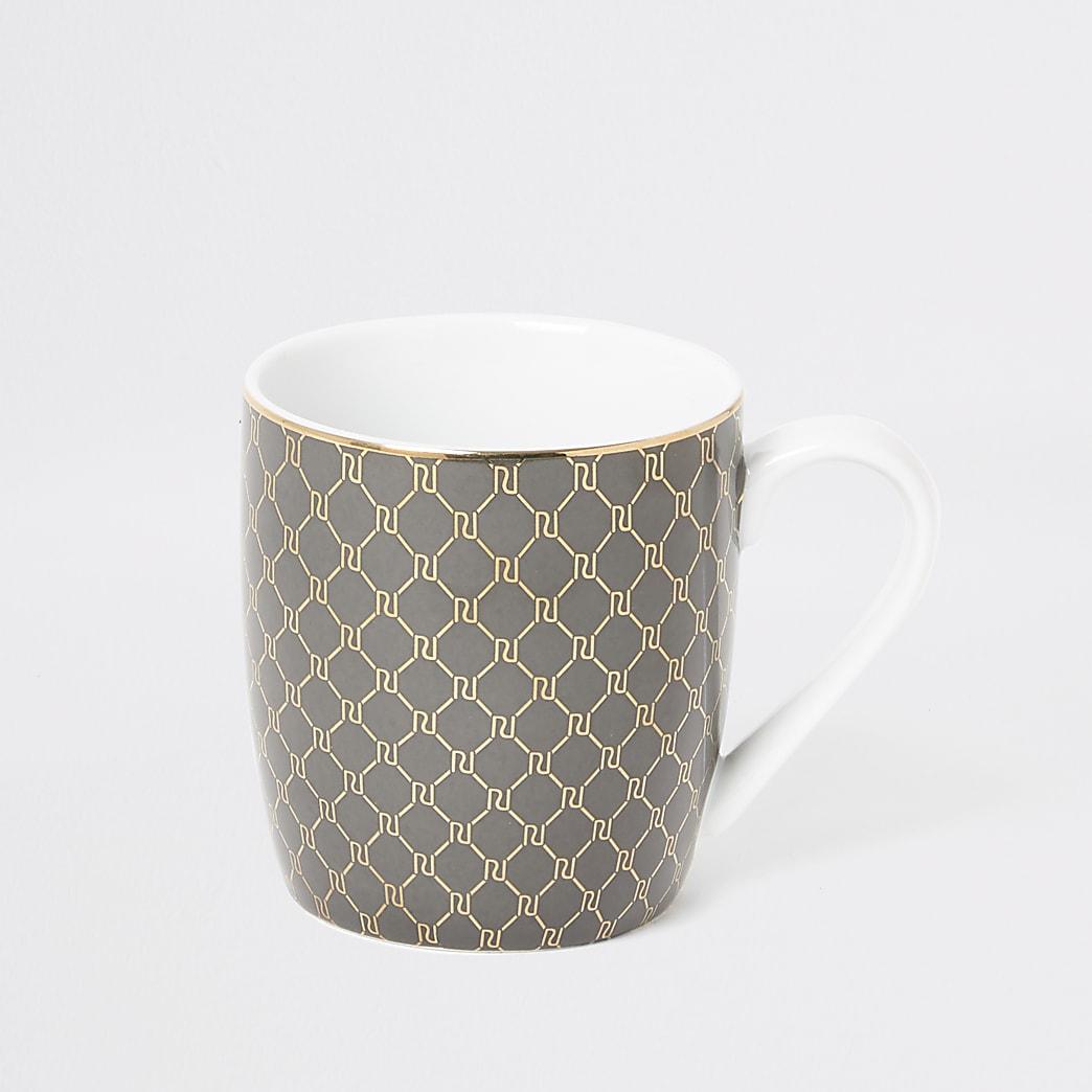 Grey RI monogram printed china mug