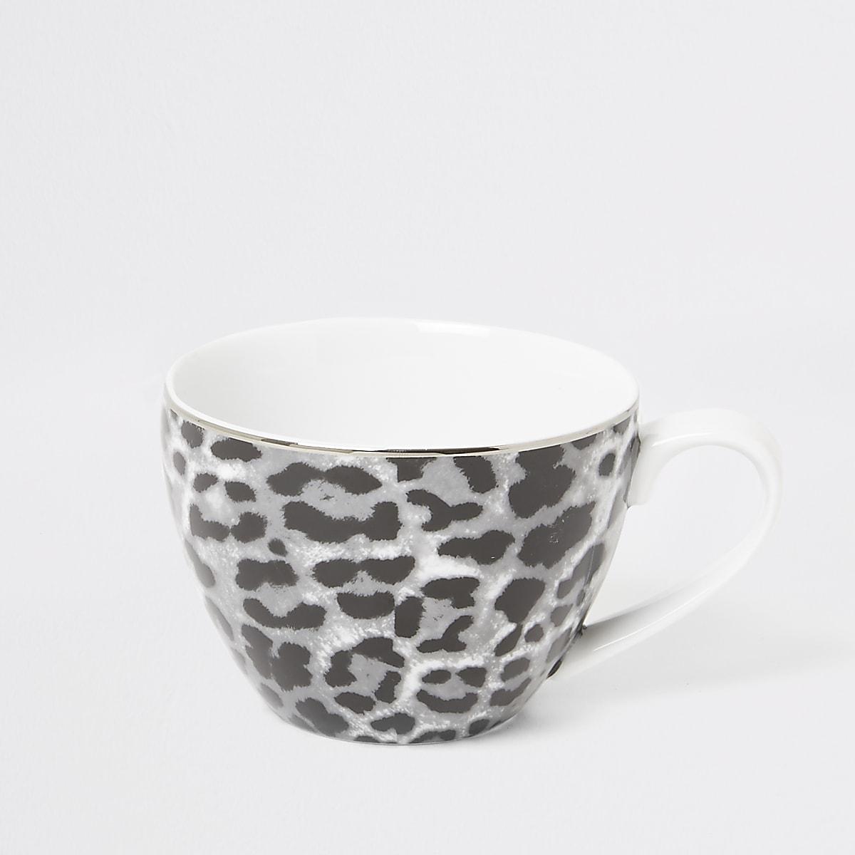 Grijze mok met luipaardprint