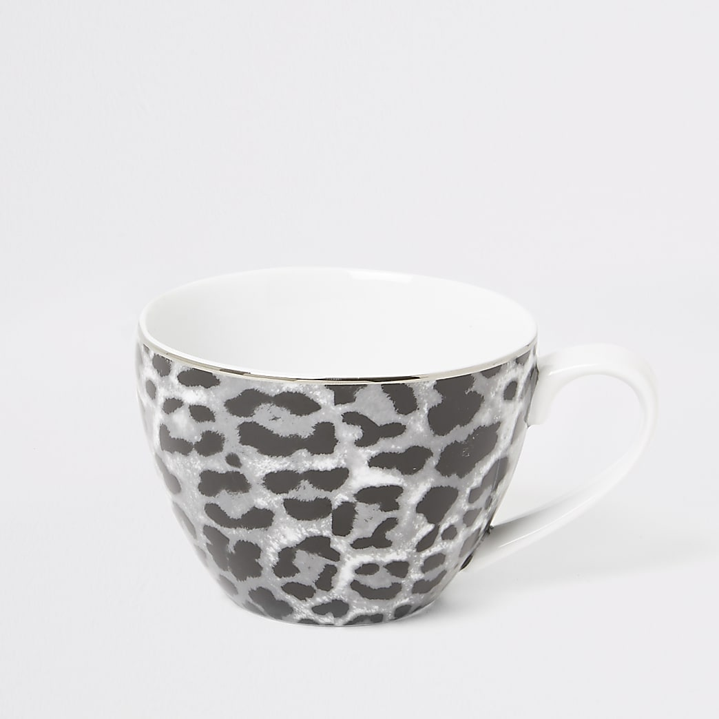 Grey leopard print bowl mug