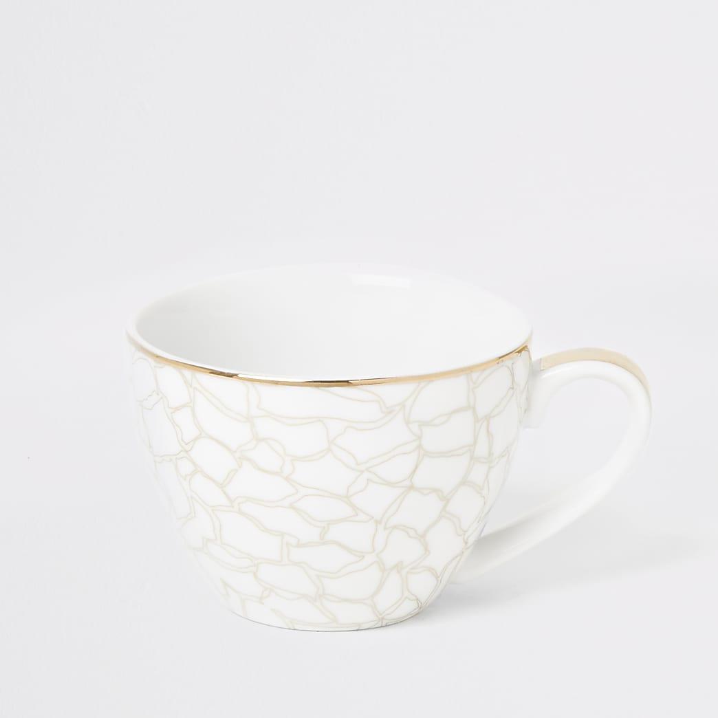 White giraffe printed bowl mug