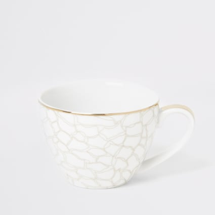 White giraffe printed bowl mug