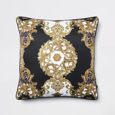 Black Animal Medallion Printed Cushion by River Island