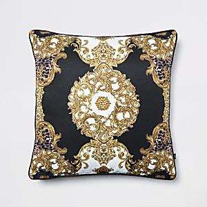 Schwarzes Kissen mit Tiger- und Ornament-Muster