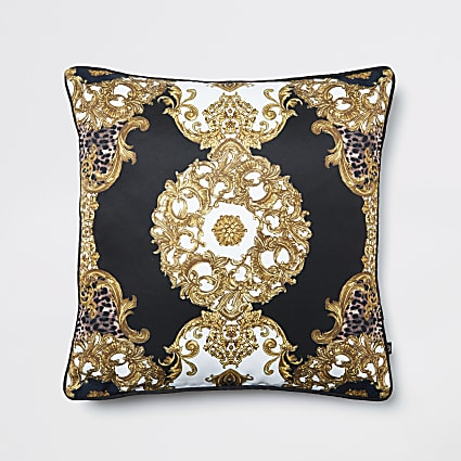 Black animal medallion printed cushion