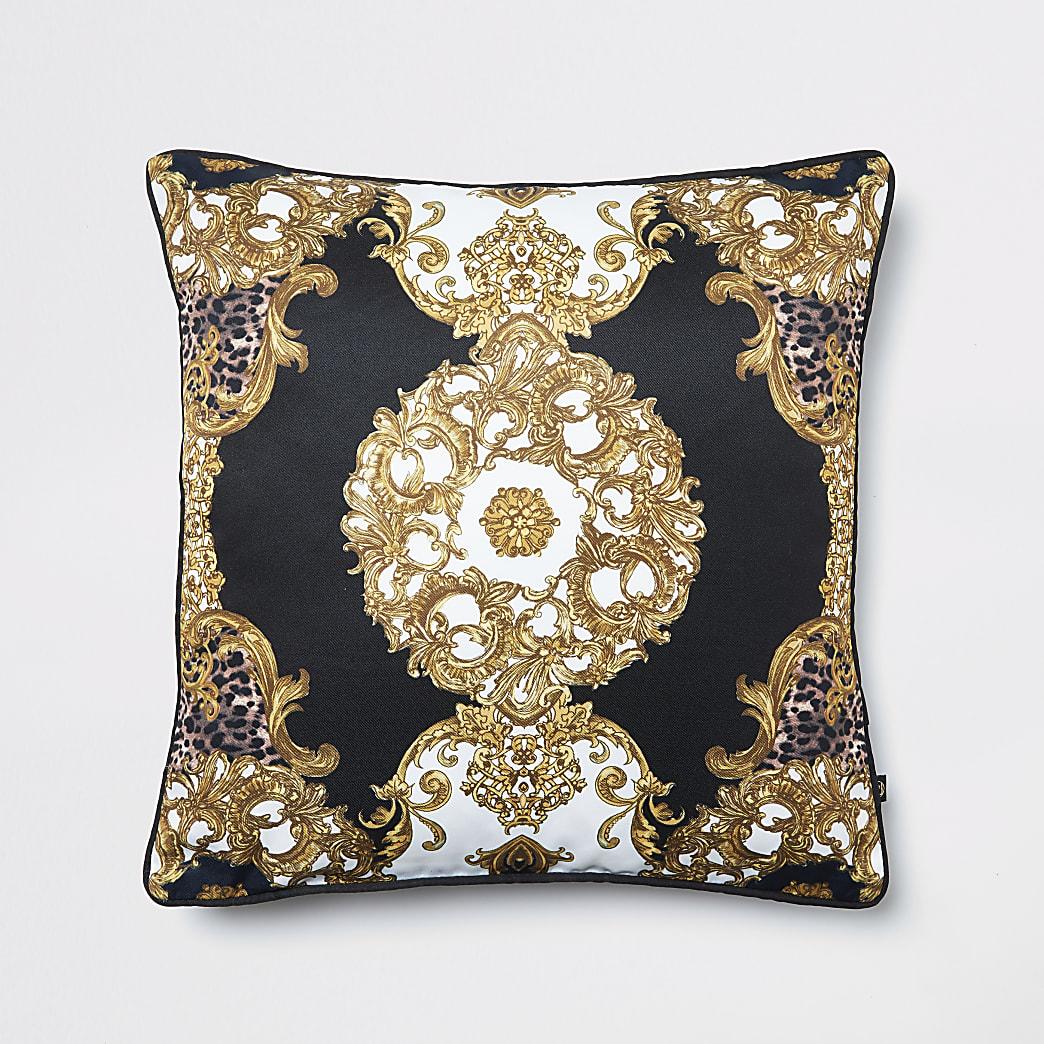 Black animal medallion printed cushion