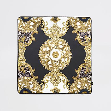 Black animal medallion cushion cover