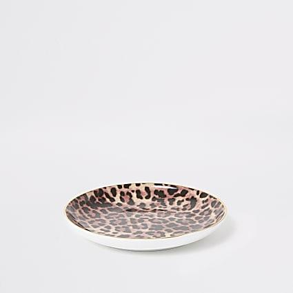 Brown leopard print trinket tray