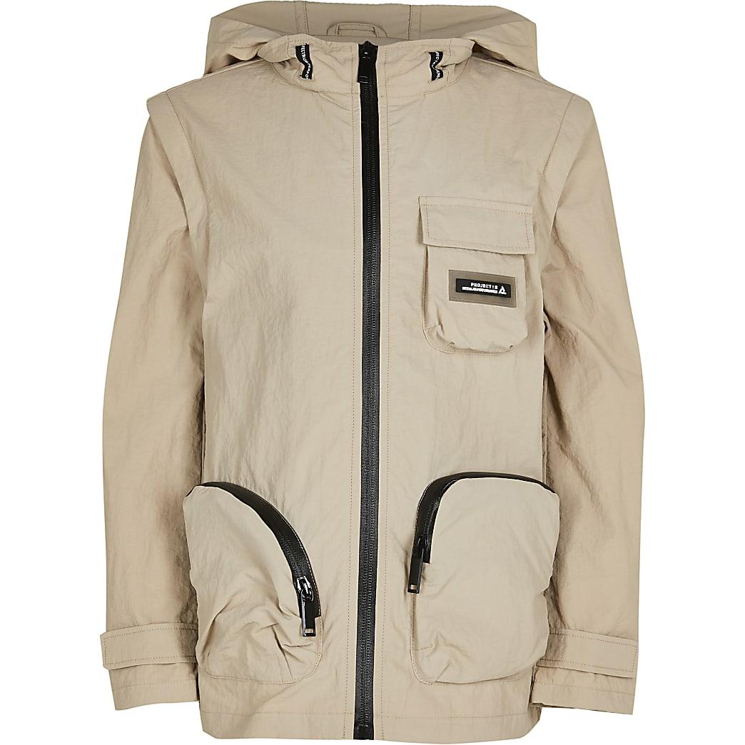 Age 13+ boys beige hooded long sleeve jacket