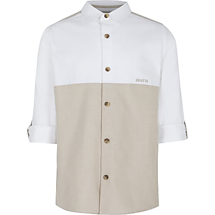 Age 13+ boys beige roll sleeve shirt