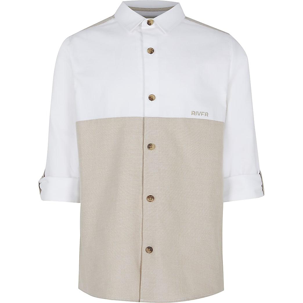 Age 13+ boys beige roll sleeve shirt