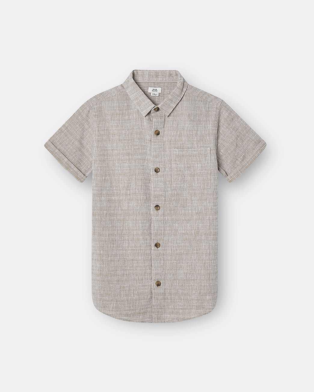 Age 13+ boys beige texture short sleeve shirt