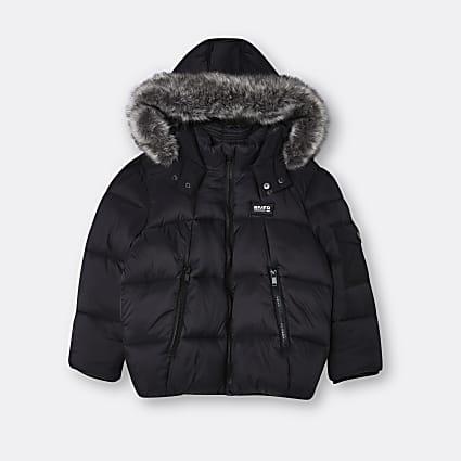 Age 13+ boys black faux fur hood puffer coat