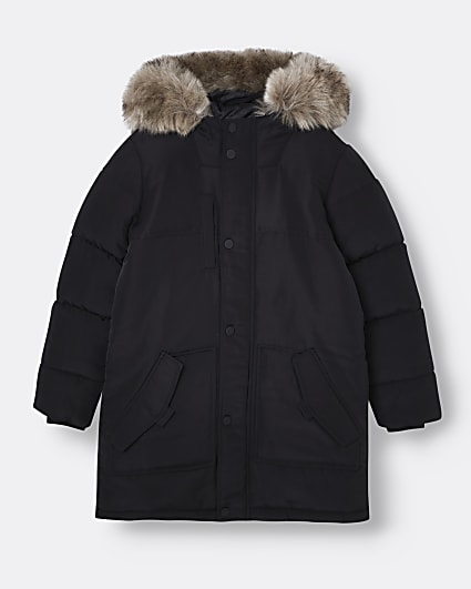 Age 13+ boys black faux fur hooded parka coat
