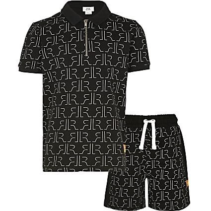Age 13+ boys black RI shirt and shorts outfit