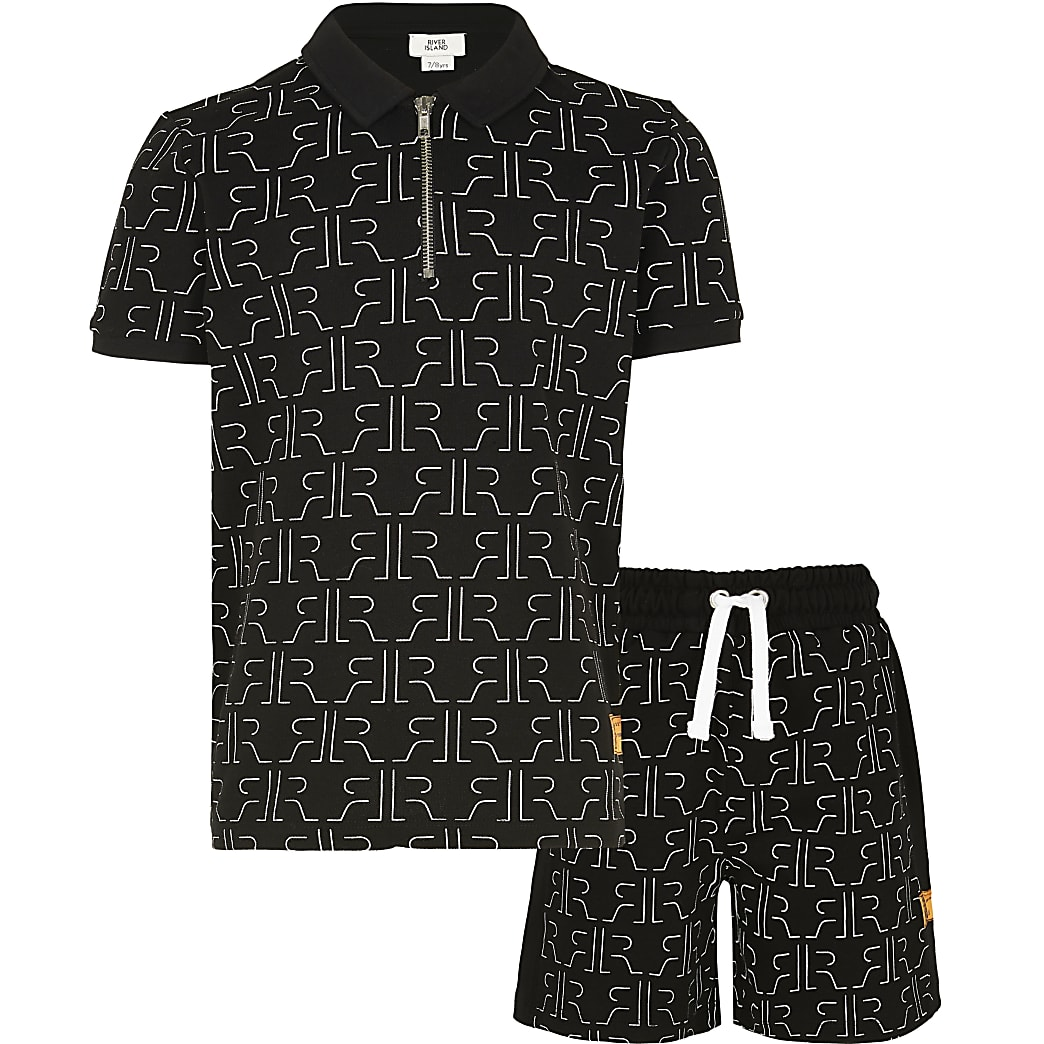 Age 13+ boys black RI shirt and shorts outfit