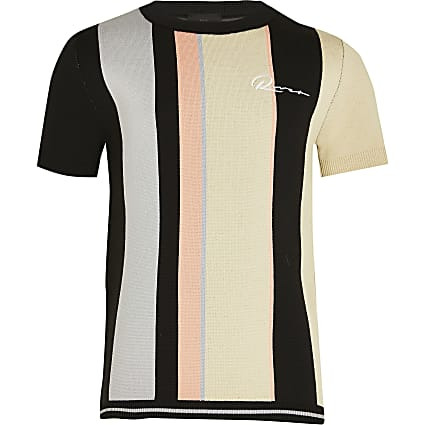 Age 13+ boys black river striped t-shirt