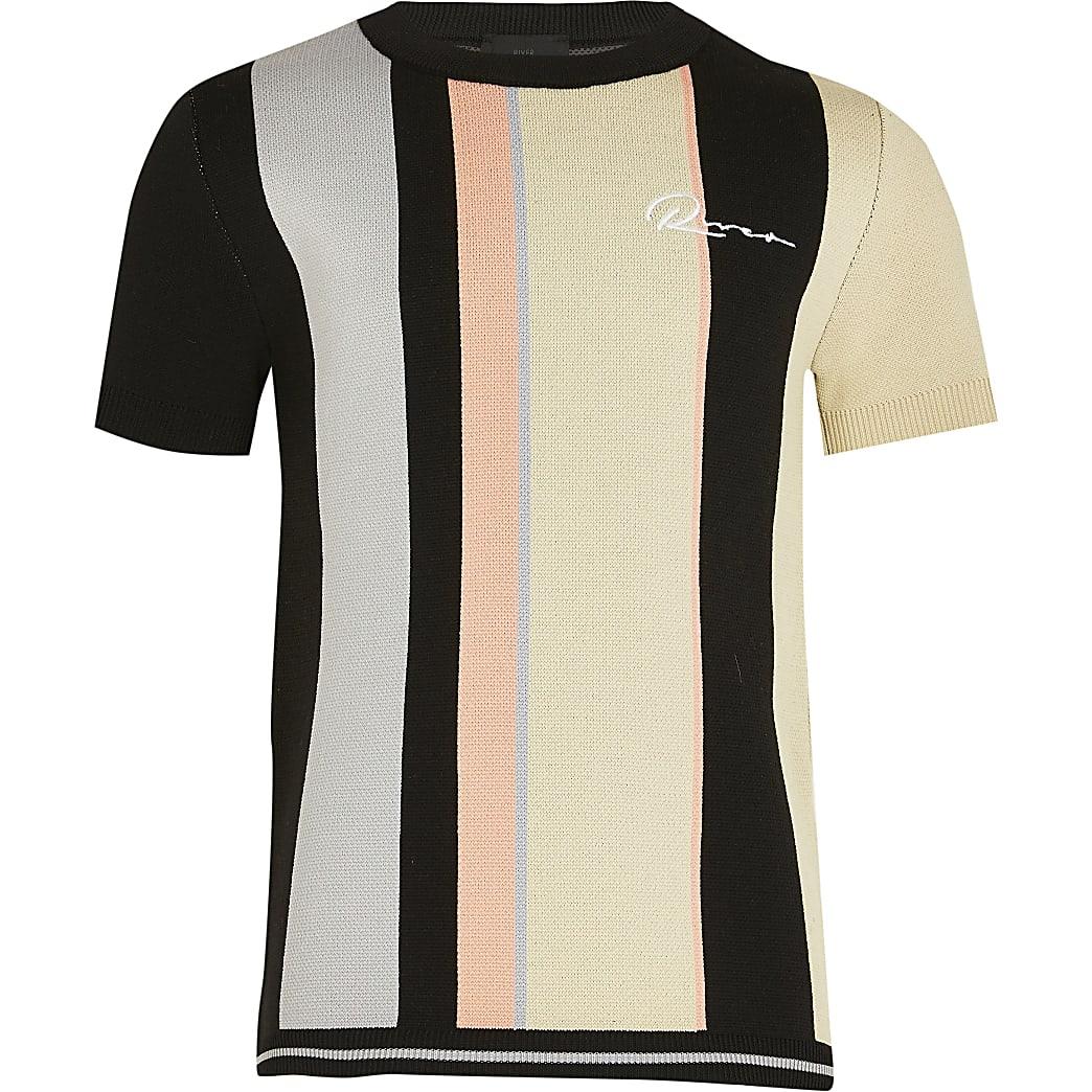 Age 13+ boys black river striped t-shirt