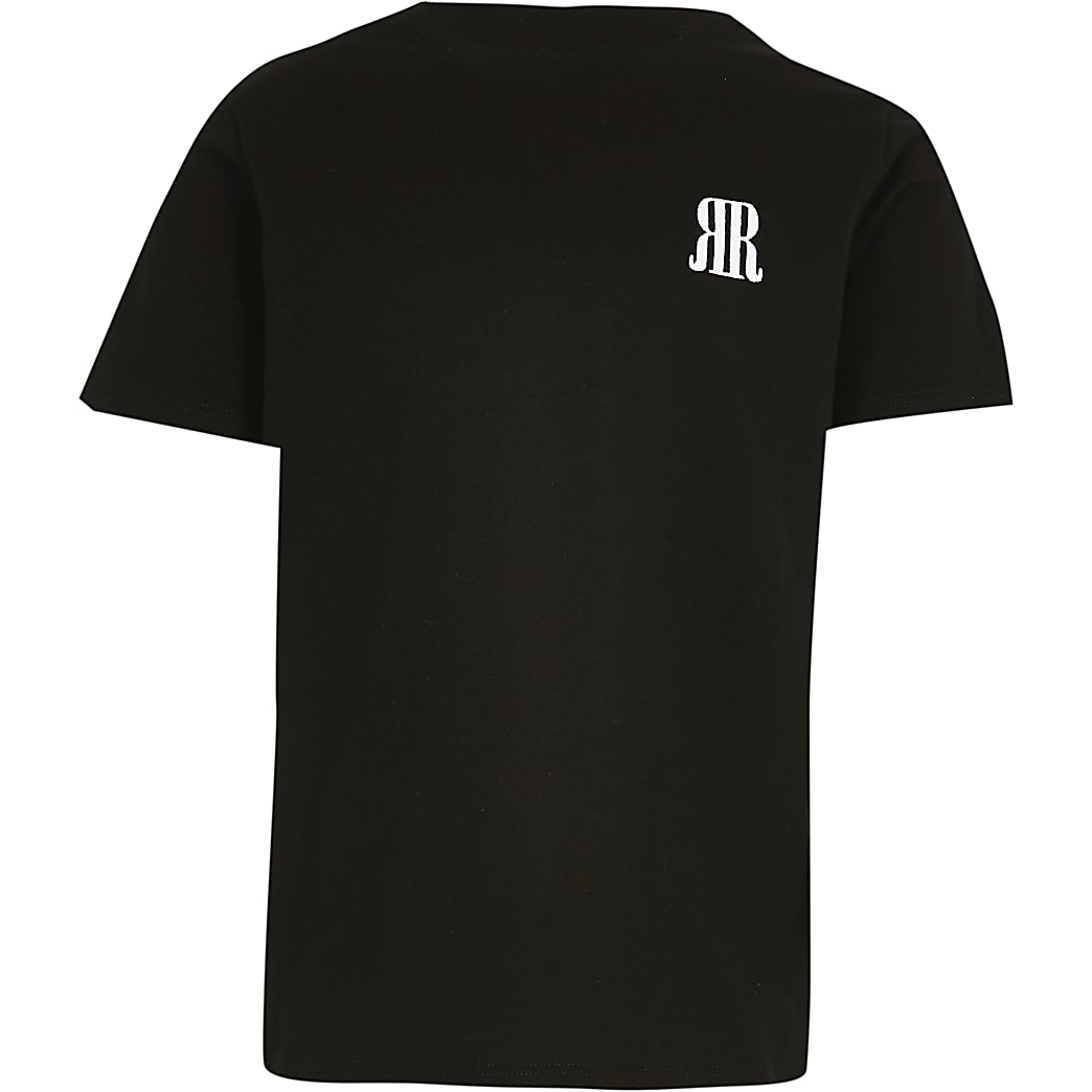 Age 13+ boys black RR logo t-shirt