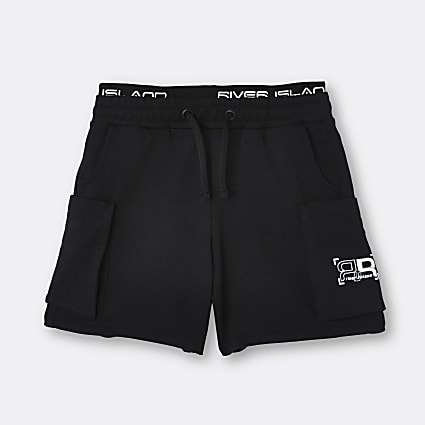 Age 13+ boys black RR waistband shorts
