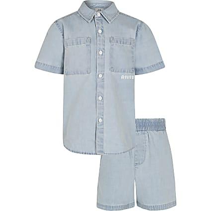 Age 13+ boys blue denim shacket and short set