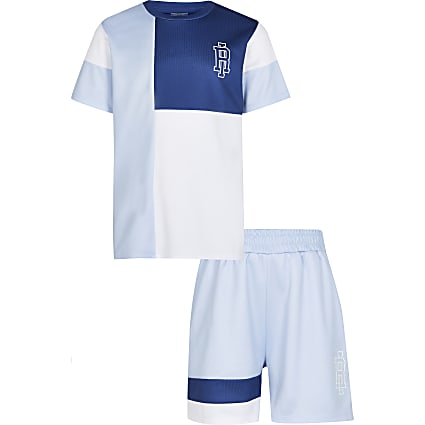 Age 13+ boys blue mesh t-shirt and shorts set