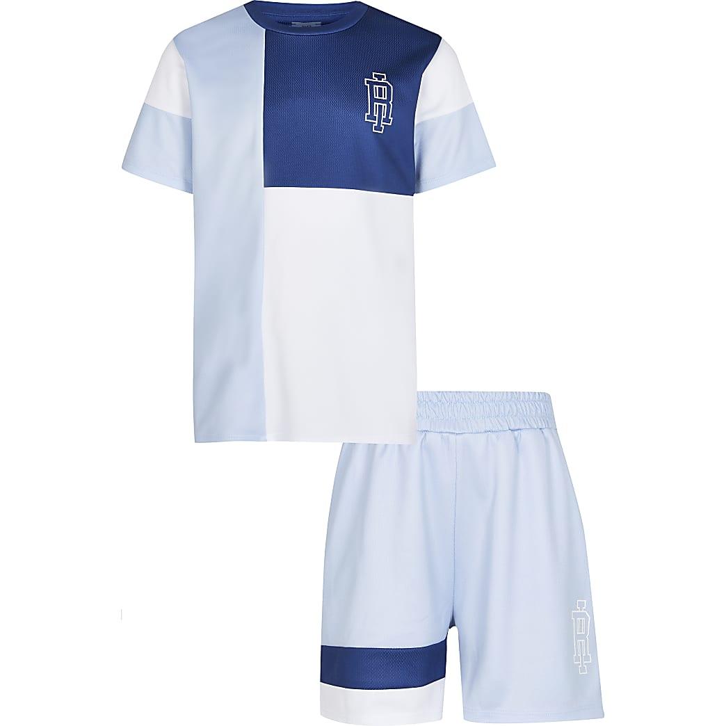 Age 13+ boys blue mesh t-shirt and shorts set