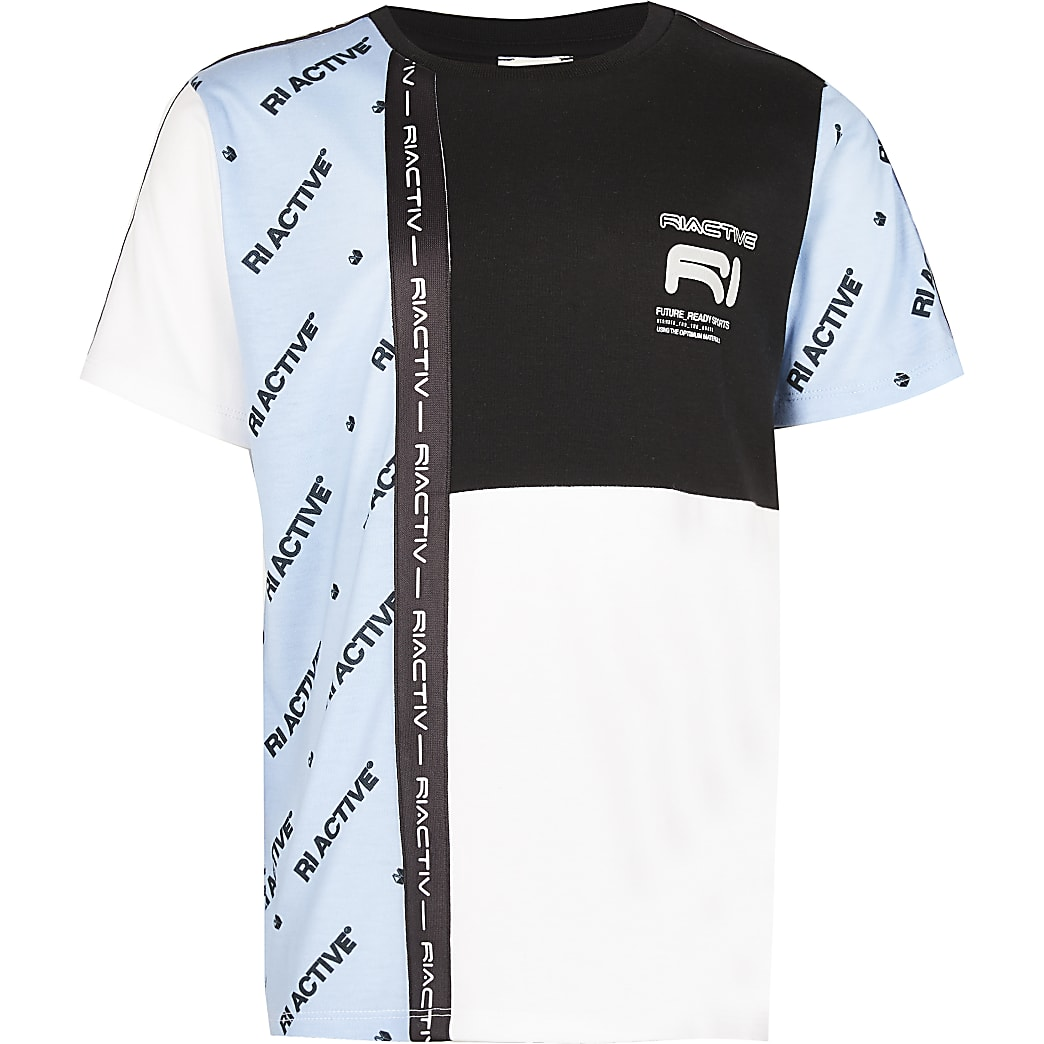 Age 13+ boys blue RI Active blocked t-shirt