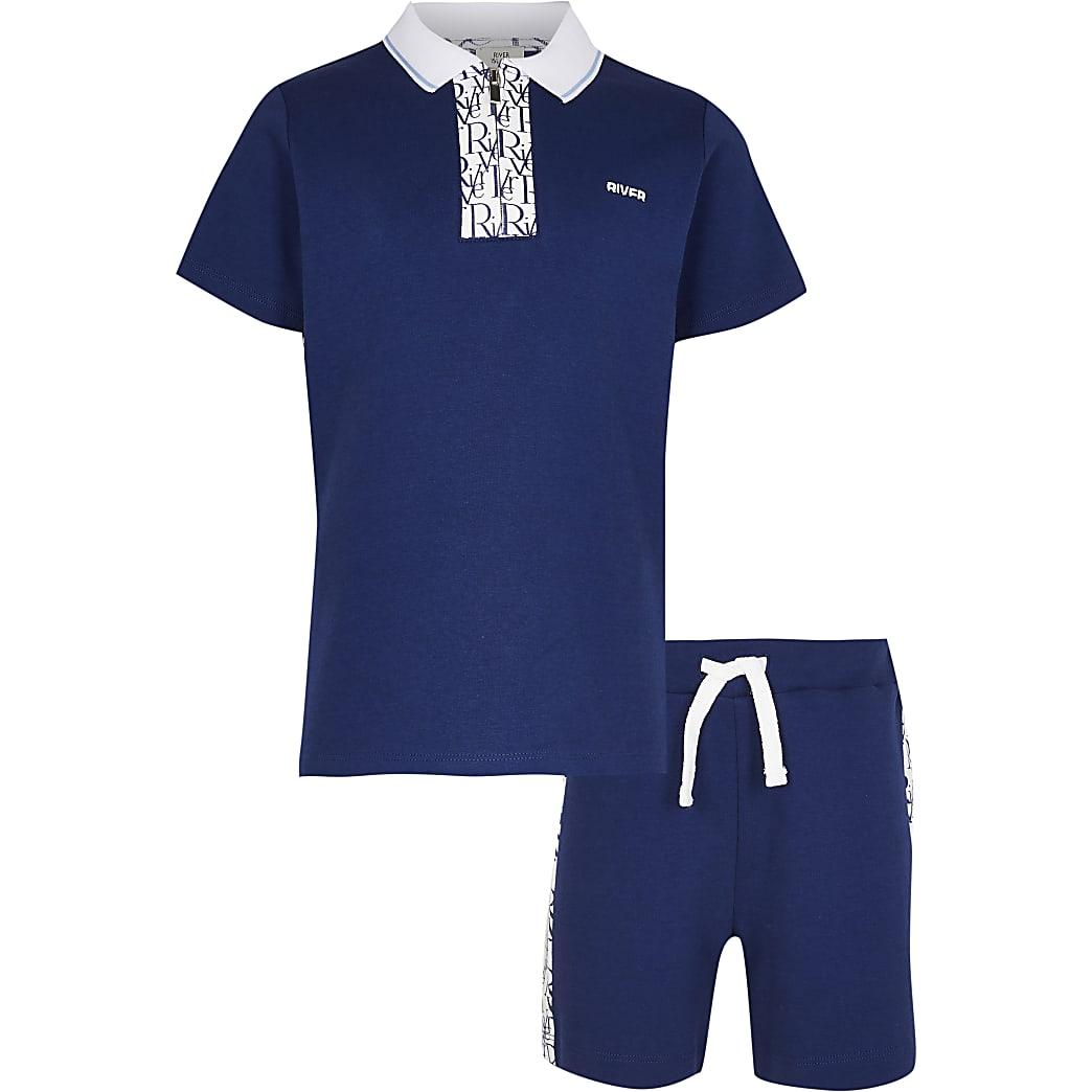 Age 13+ boys blue RI monogram shirt outfit