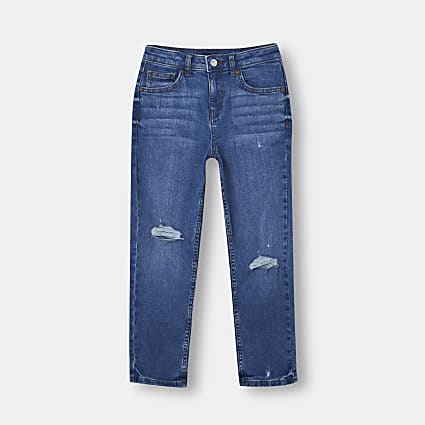 Age 13+ boys blue ripped regular fit jeans