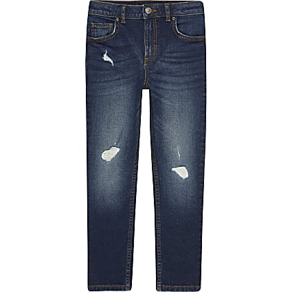 Age 13+ boys blue ripped skinny jeans