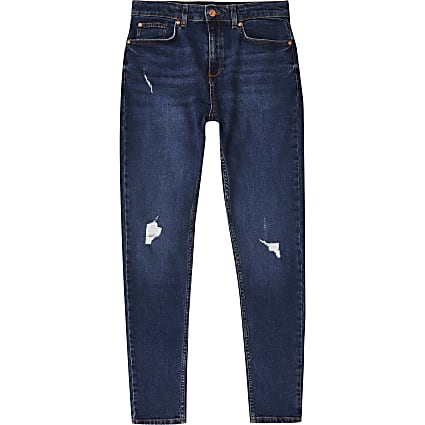 Age 13+ boys blue skinny ripped jean