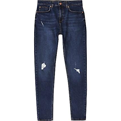 Age 13+ boys blue skinny ripped jean