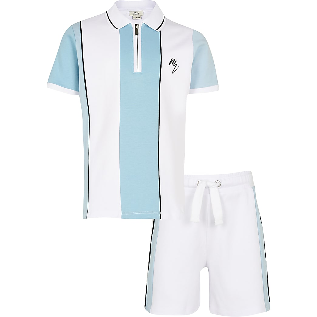 Age 13+ boys blue stripe polo shirt outfit