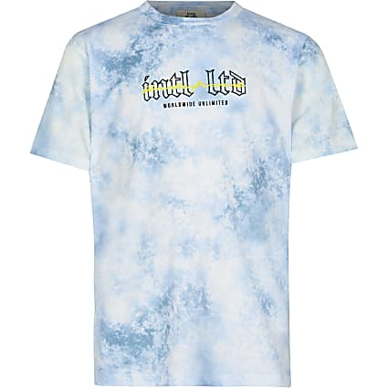 Age 13+ Boys blue tie dye back print t-shirt